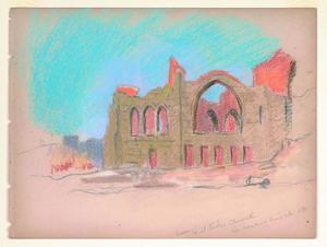 Title: Ruins of St. Lukes Church, corner Van Ness & Pine Streets , Date: 1906 , Size: 8 3/4
