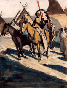 Title: Indians On Horseback with Teepees in Background , Size: 4 1/4