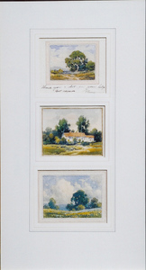 Title: Triple set of miniature watercolors , Size: each approx. 4